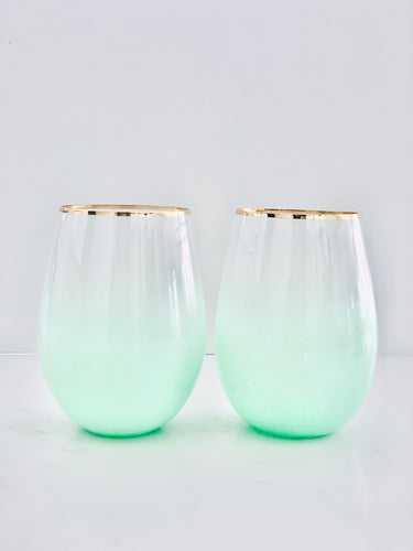 Mint Green Stemless Wine and Cocktail Glasses - Set of 2