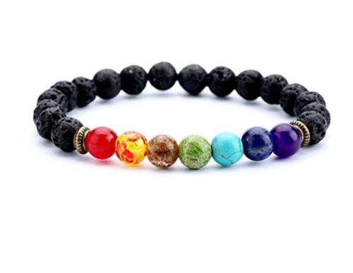 7 Chakra Healing Diffuser Bracelet with Lava Stone Beads