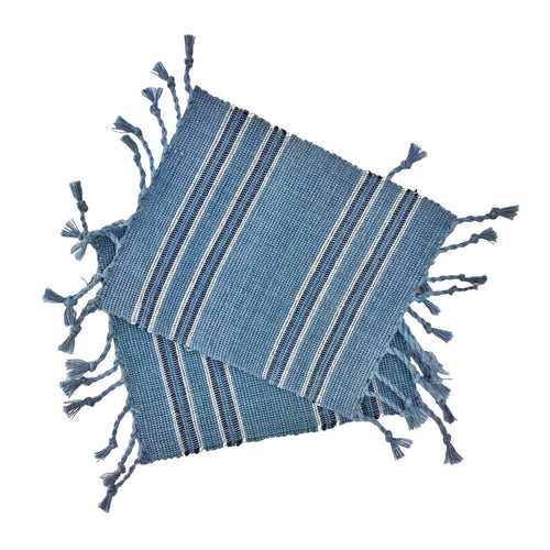 Striped Bohemian Fringe Coasters (Set of 4)