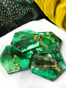 Vibrant Green And Gold Hand Painted Coasters (Set Of 4)