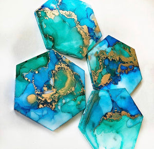 Blue Turquoise Teal And Gold Hand Painted Coasters (Set Of 4)