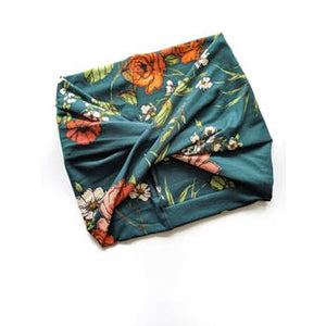 Teal Green Floral Twisted Front Wide Headband