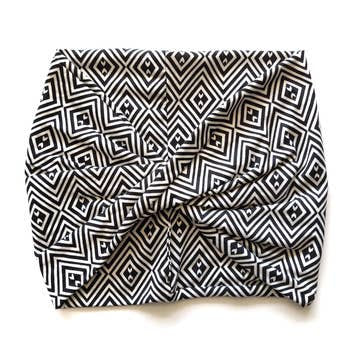 Black and White Geometric Twisted Front Wide Headband