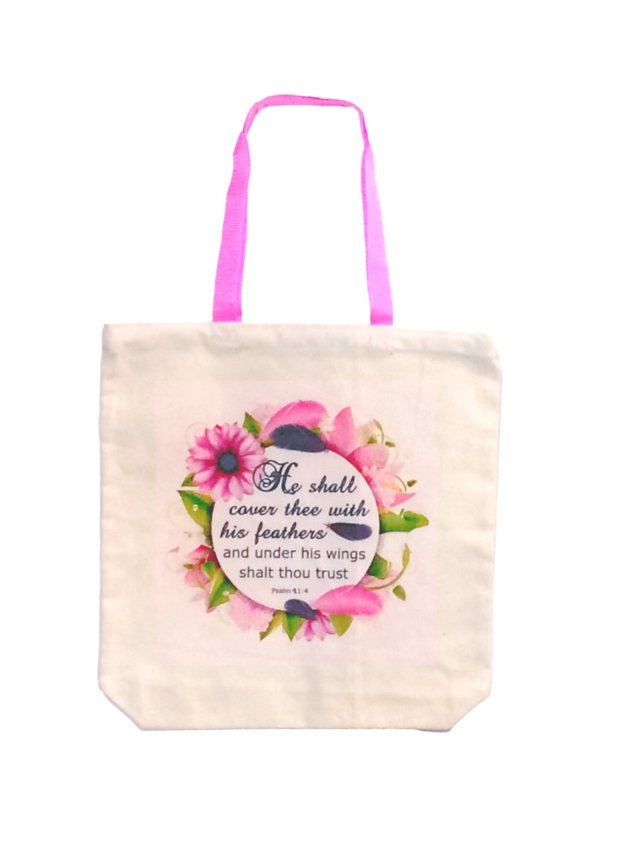 Cover Thee With Feathers Pink Handle Bag