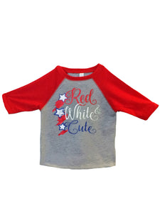 Red White & Cute Youth Baseball T
