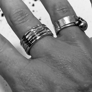 3 or 5 Set Hammered Stack Rings
