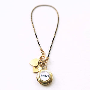 Personalizable Family Locket Necklace - 1 or 2 Hearts - Handstamped Initials on Request