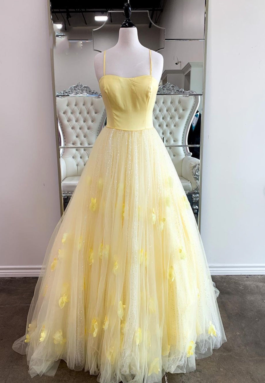 Yellow tulle long A line prom dress evening dress