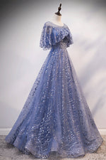 Blue tulle sequins long prom dress evening dress