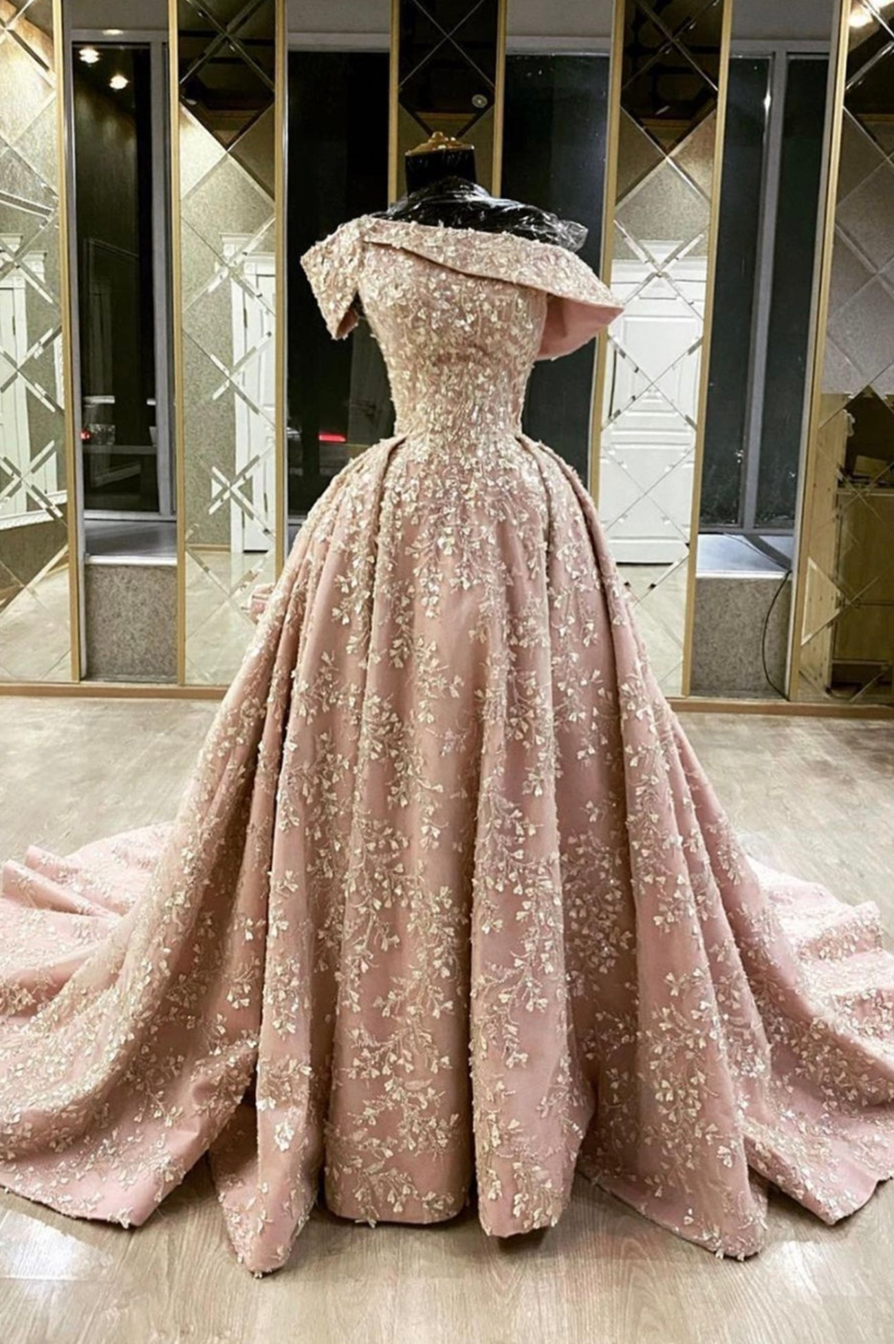 Pink lace long ball gown dress lace evening dress