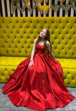 Red satin long prom dress simple evening dress