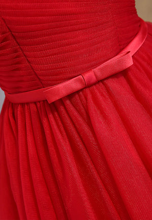 Red tulle short prom dress red homecoming dress
