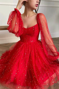 Red tulle short prom dress red evening dress