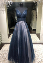 Black A line tulle long prom dress evening dress