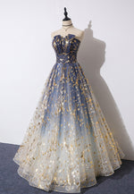 Stylish strapless tulle long prom dress evening dress