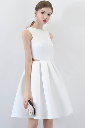 White A line short prom dress homecoming dress