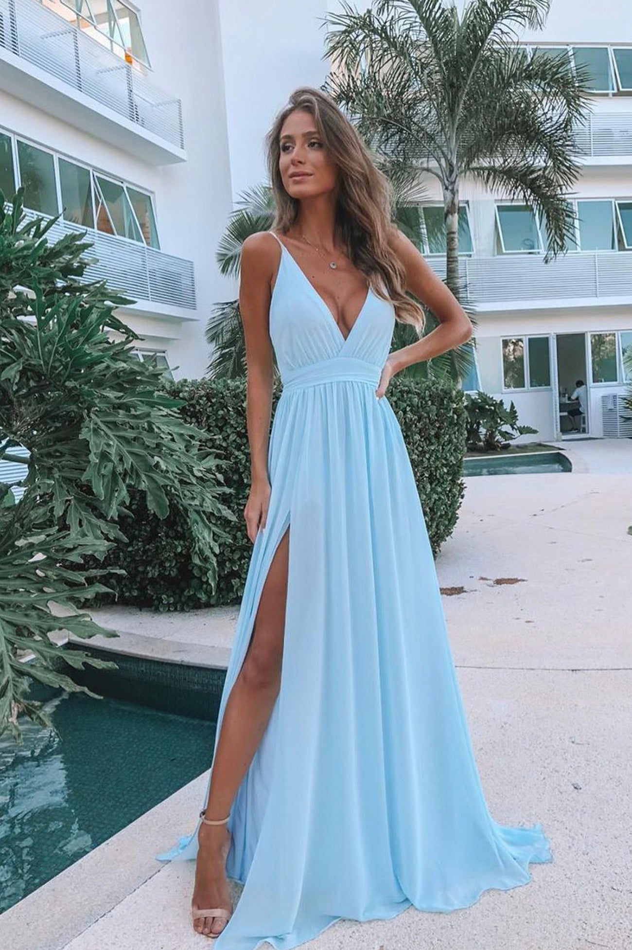 Light blue chiffon long prom dress evening dress