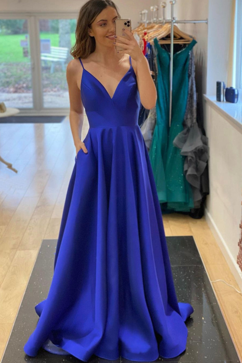 Blue satin long prom dress A line evening dress