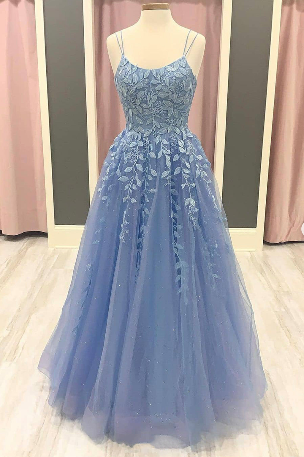 Blue lace long A line prom dress evening dress