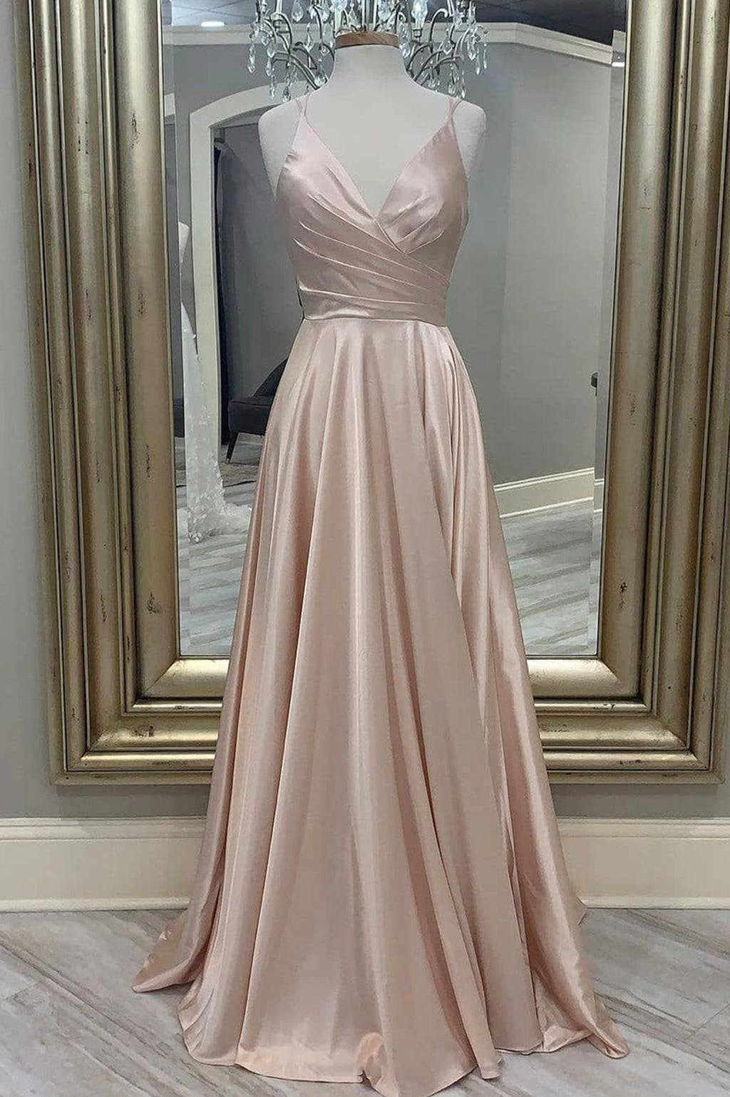 Pink satin long A line prom dress simple evening dress