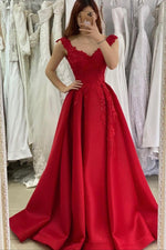 Red v neck lace long prom dress A line evening dress