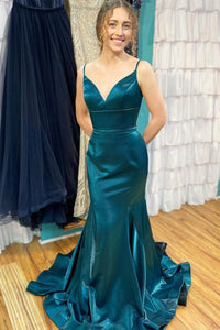 Blue satin long prom dress mermaid evening dress