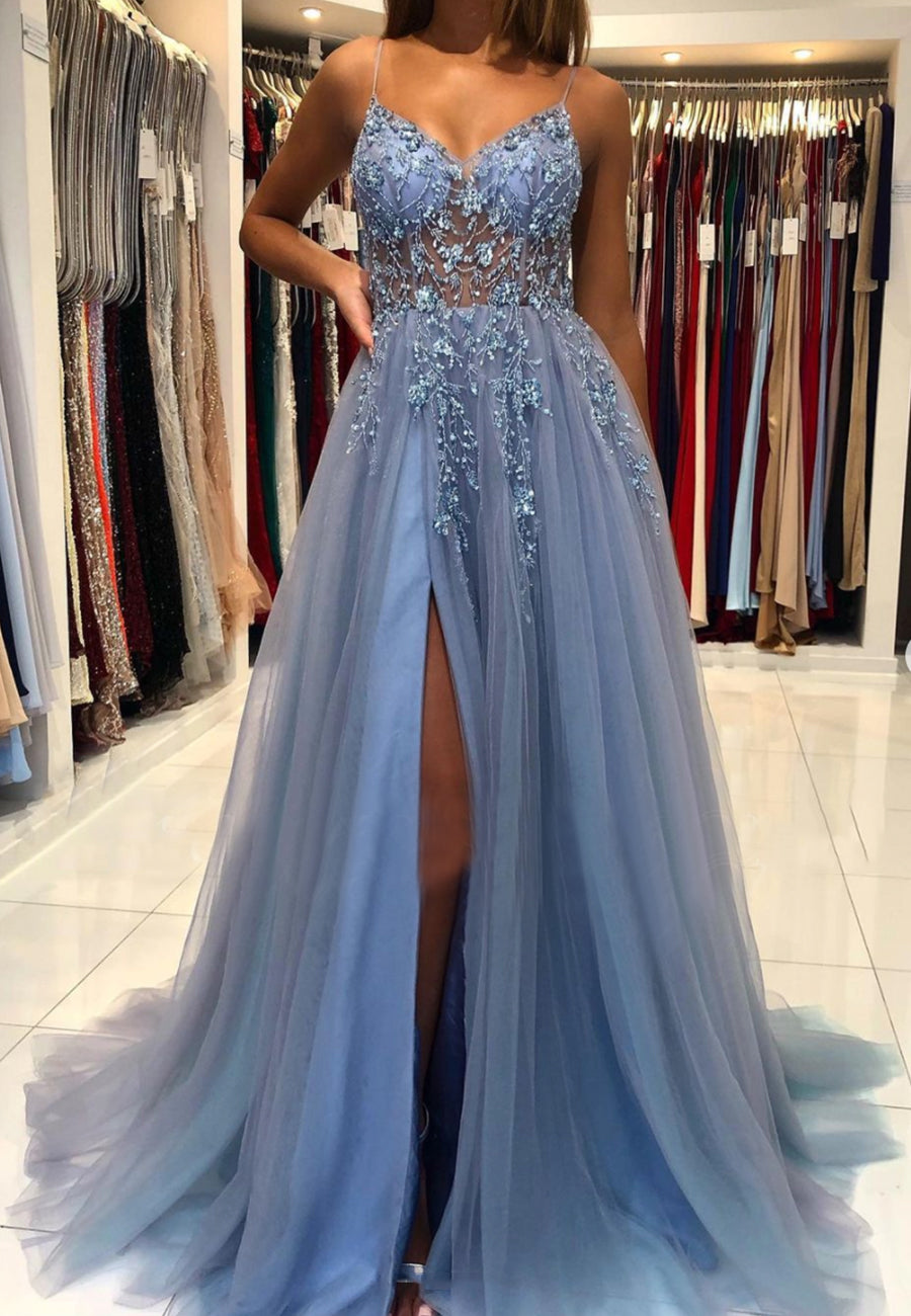 Blue v neck tulle beads long prom dress evening dress