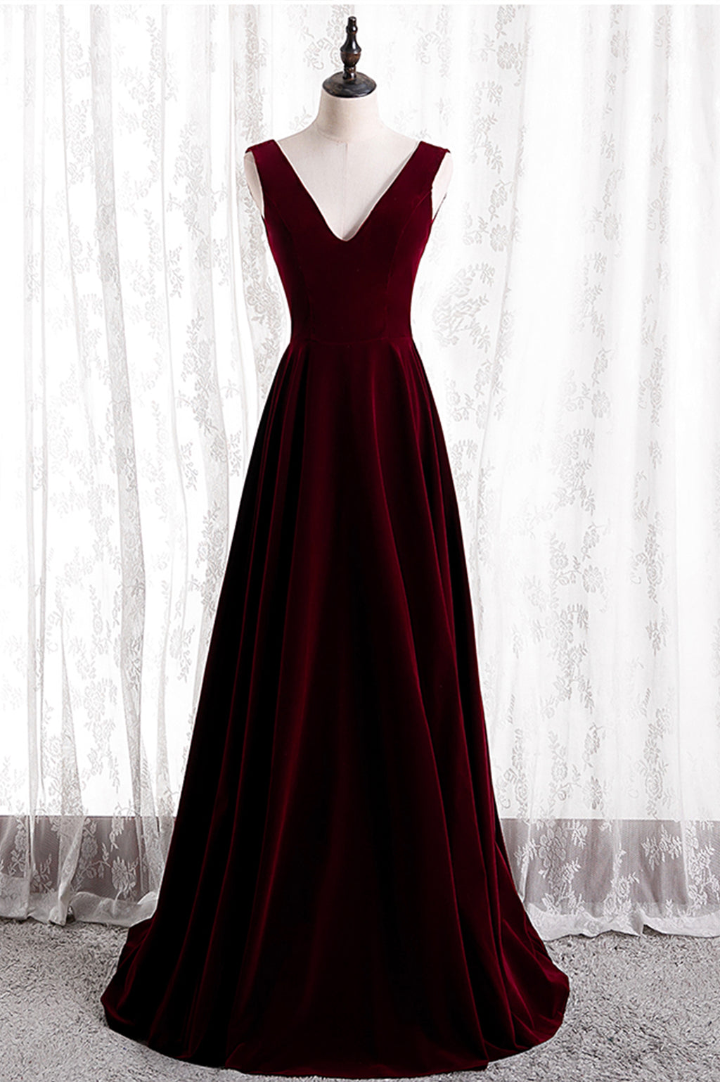 Burgundy A line long prom dress black velvet evening dress