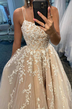 Stylish lace long A line ball gown dress formal dress