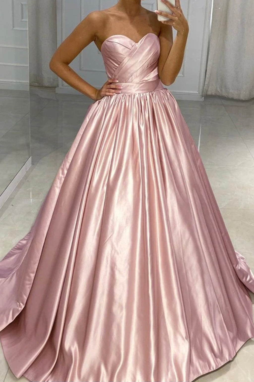 Cute satin long A line prom dress evening dress