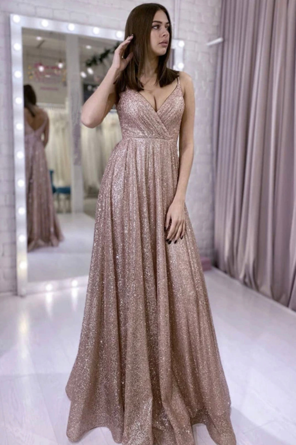 Shiny v neck tulle sequins long prom dress evening dress
