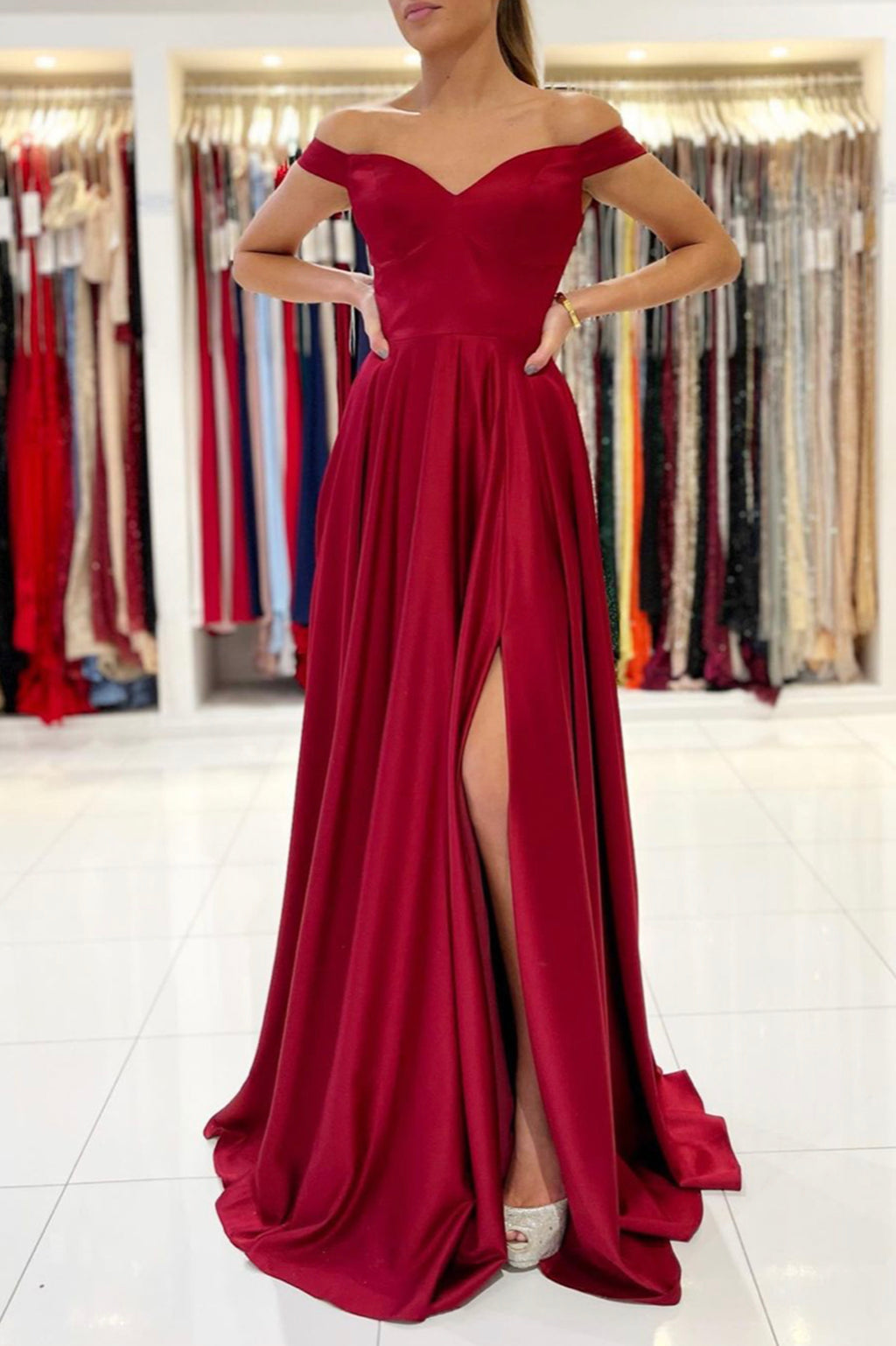 Burgundy satin long A line prom dress simple evening dress