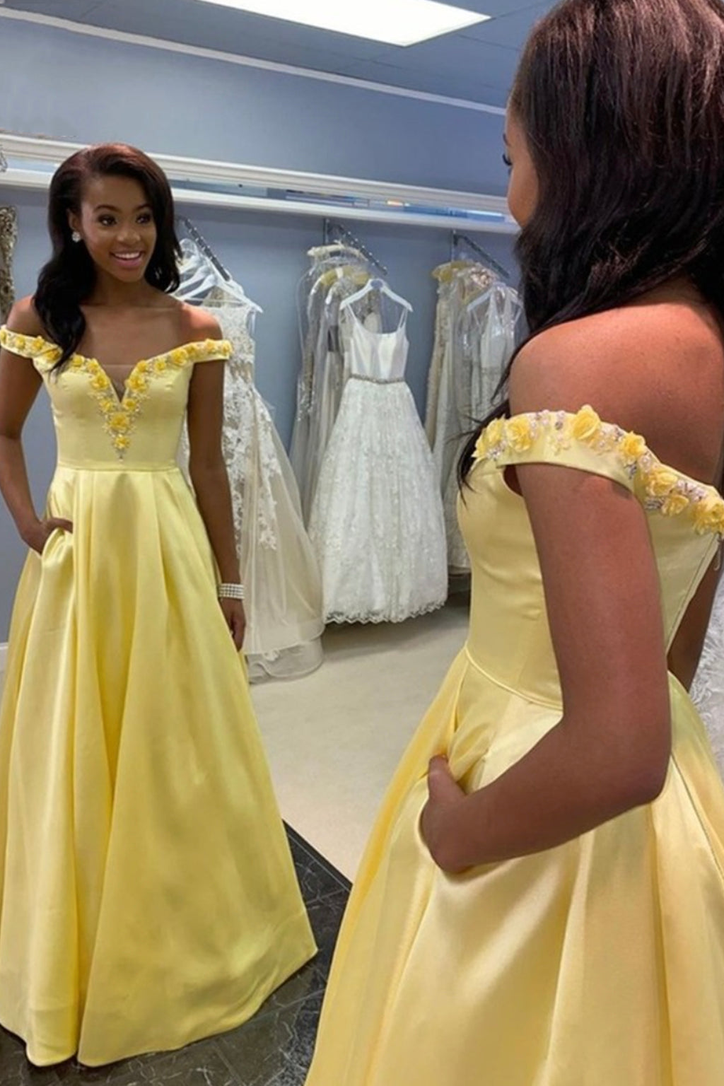 Yellow satin long A line prom dress yellow evening dress