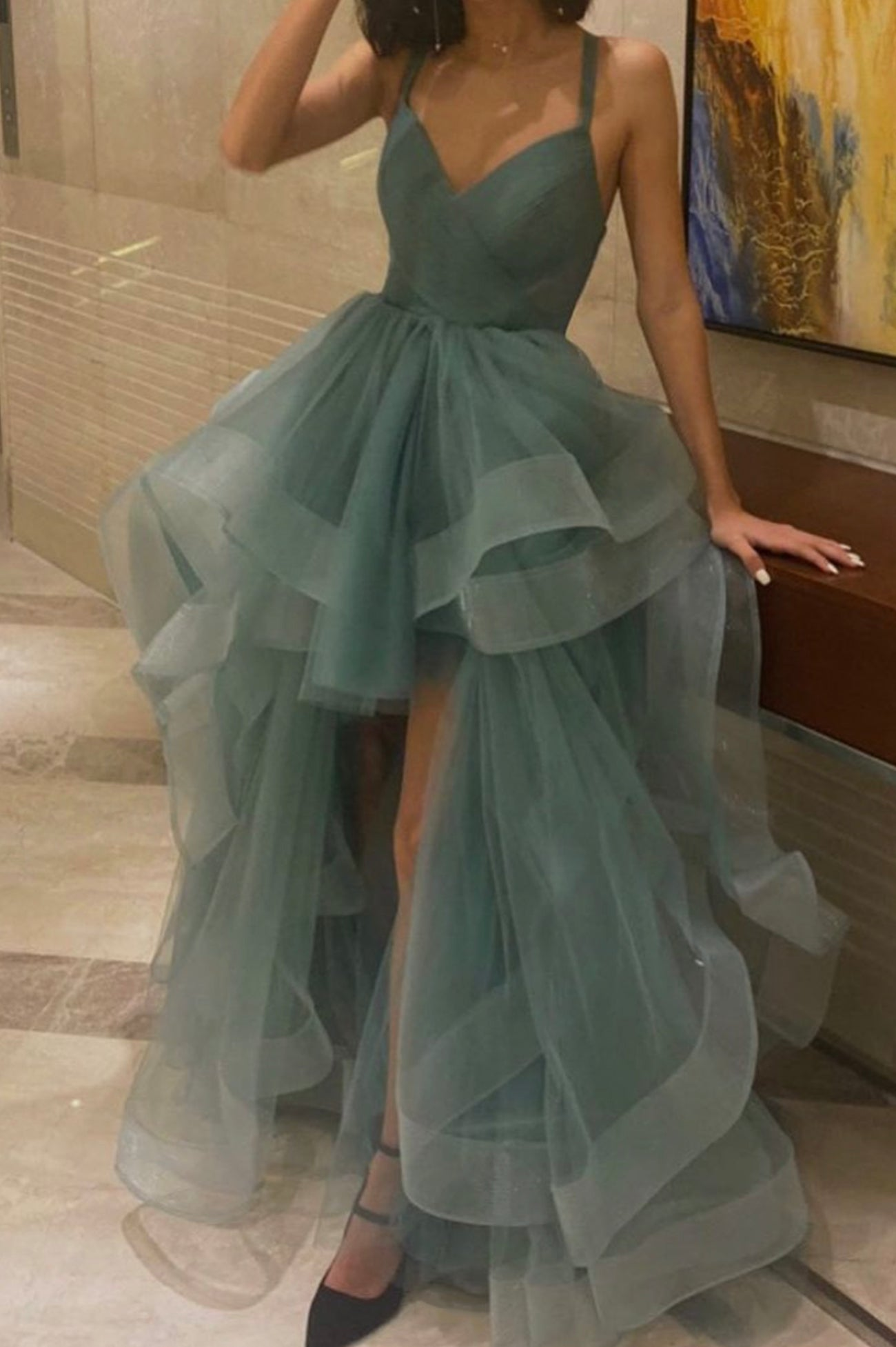 Cute v neck tulle high low prom dress evening dress