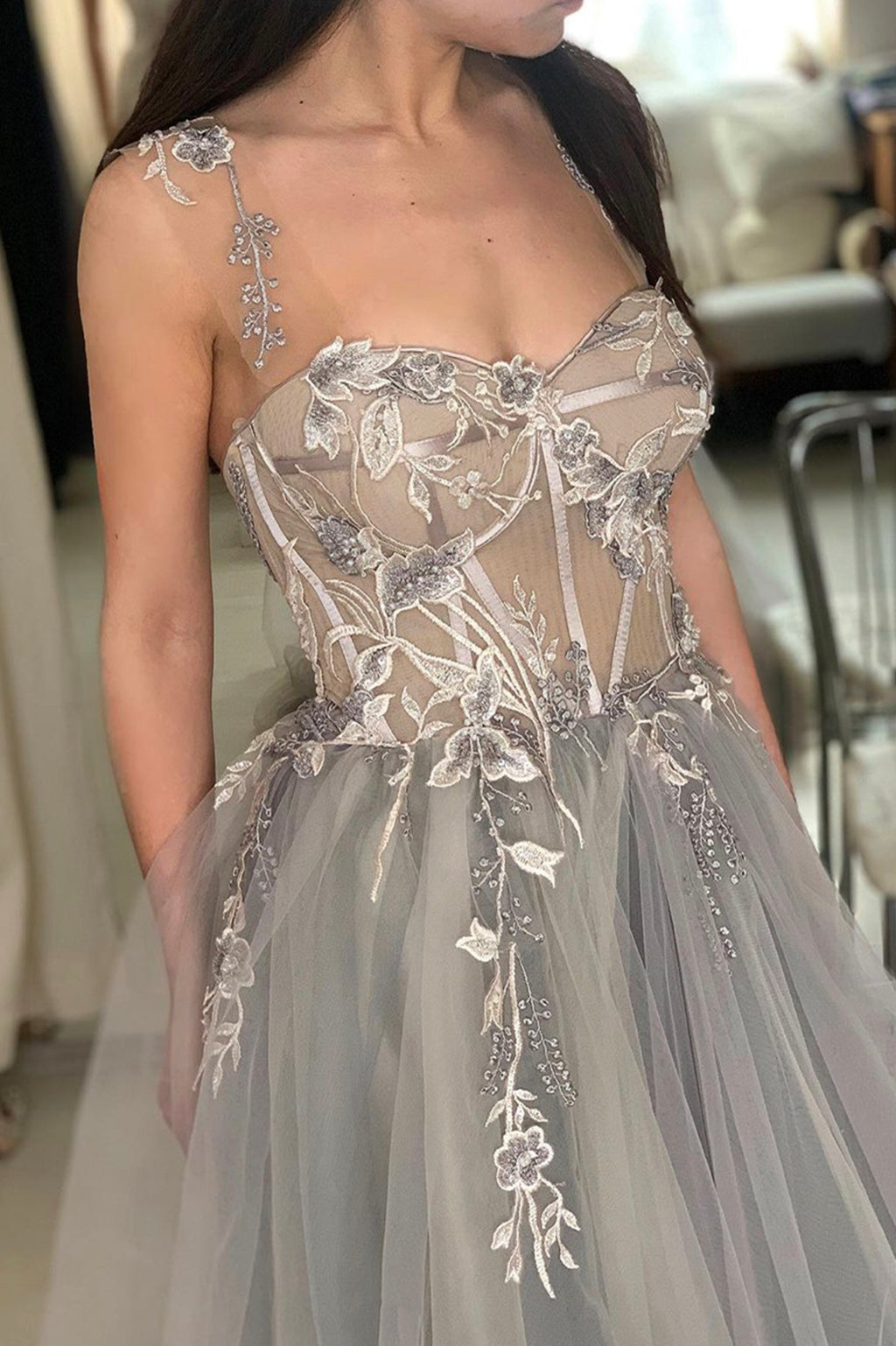 Gray tulle lace long A line prom dress evening dress