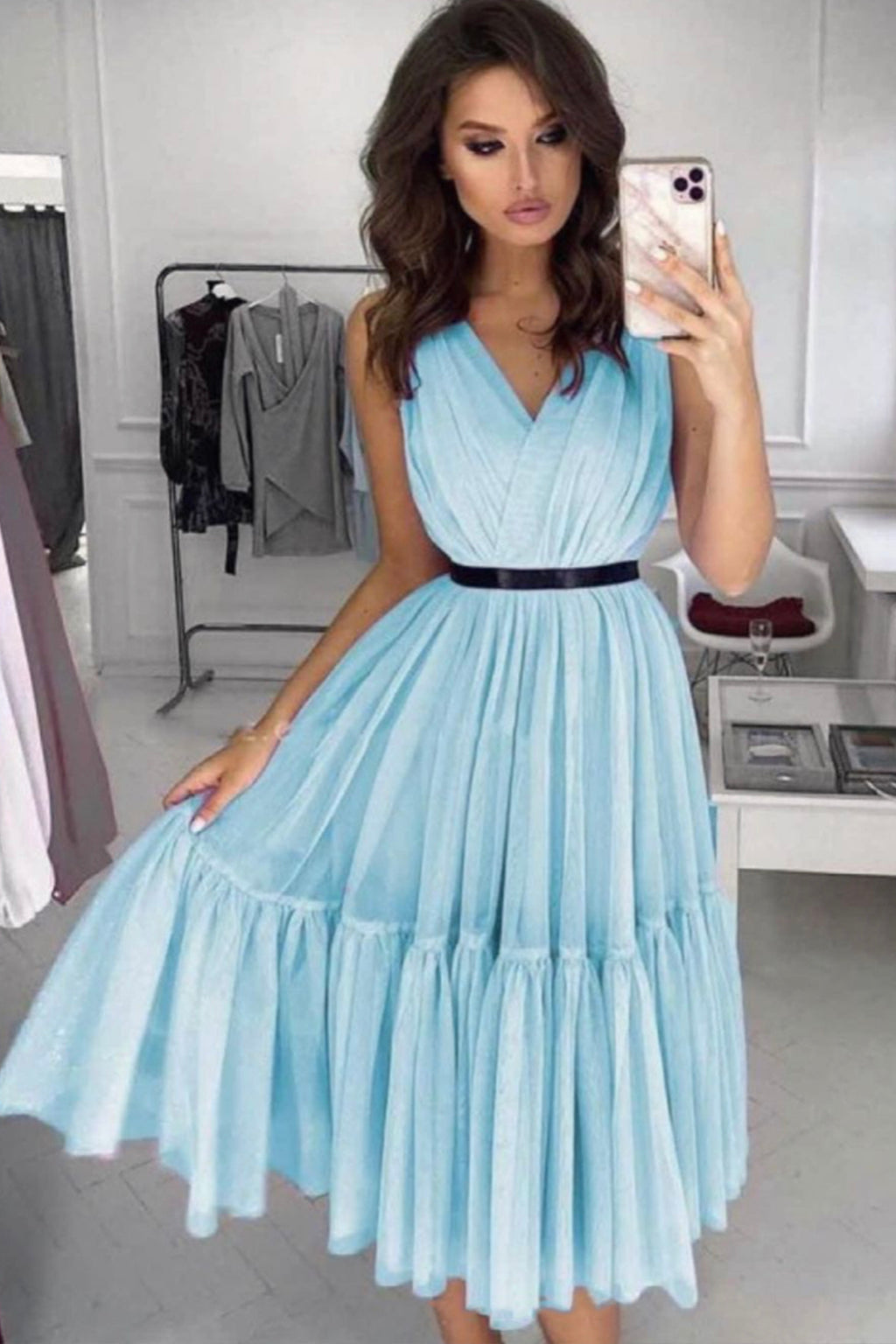 Cute A line tulle short prom dress evening dress