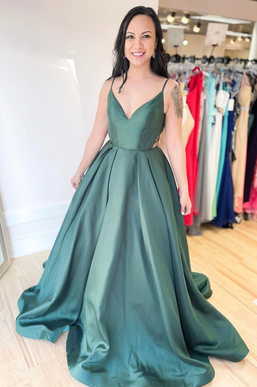 Simple v neck satin long A line prom dress evening dress