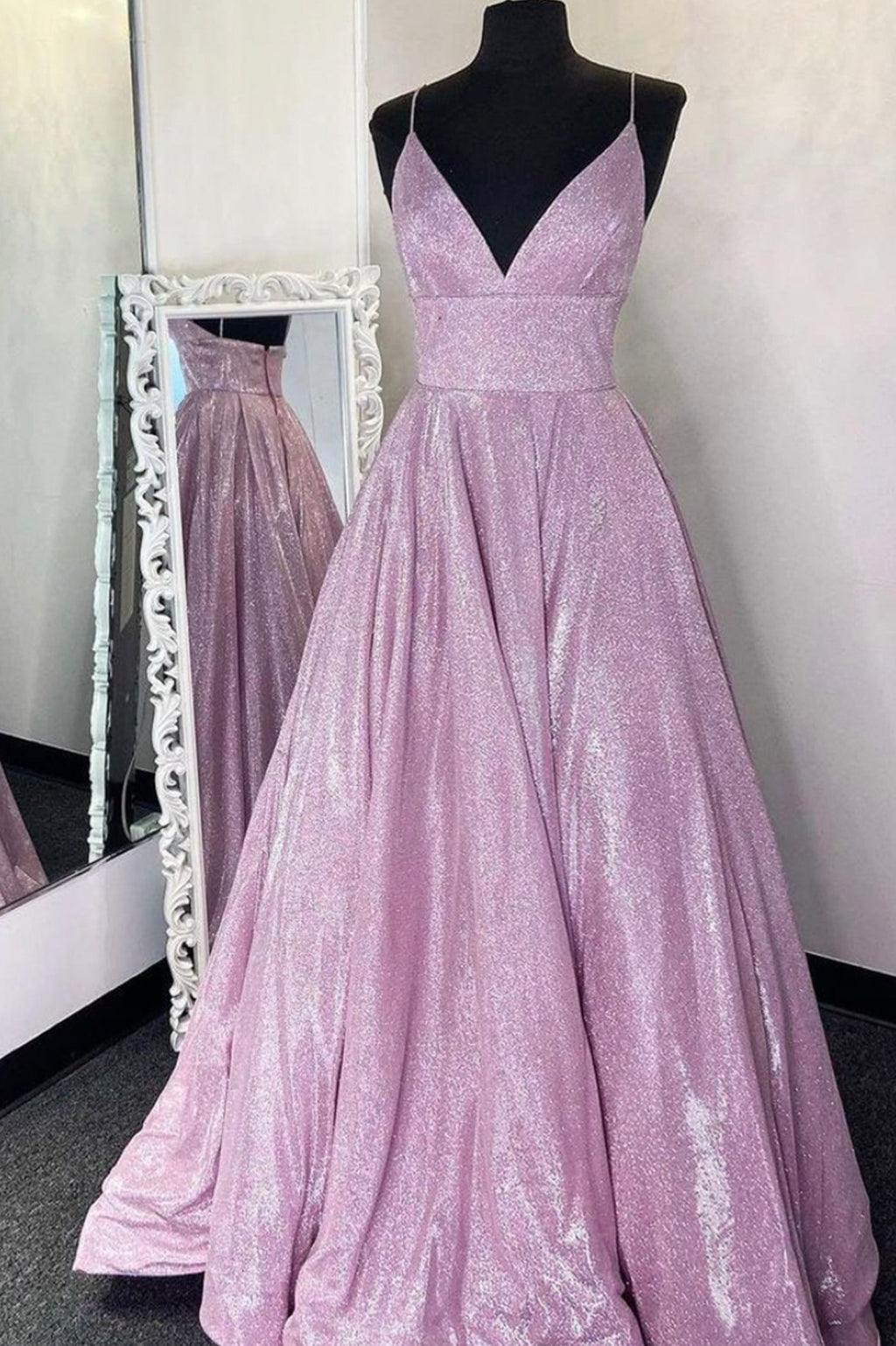 A line v neck long prom dress simple evening dress