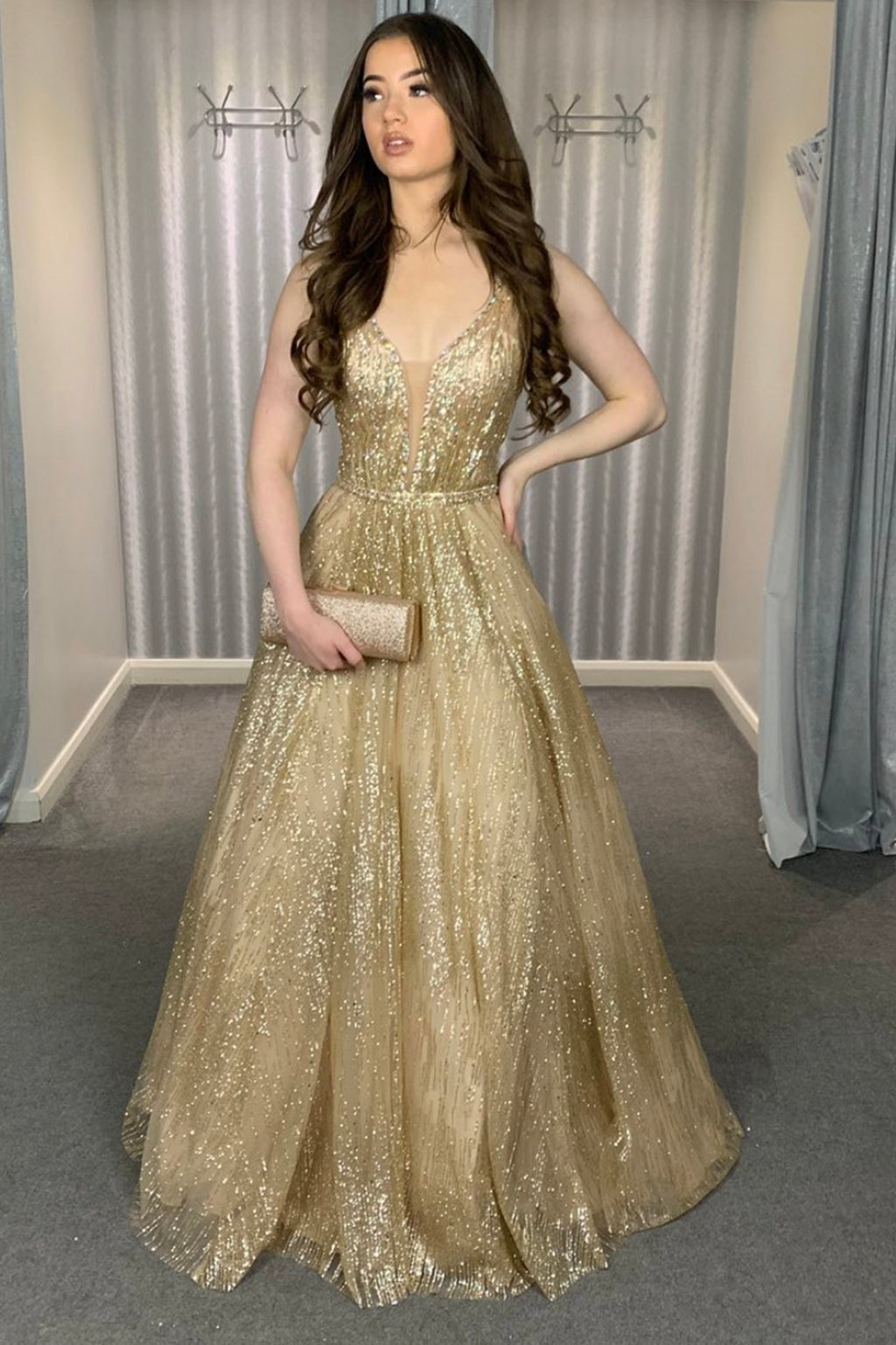 Gold v neck sequins long A line prom dress evening dress