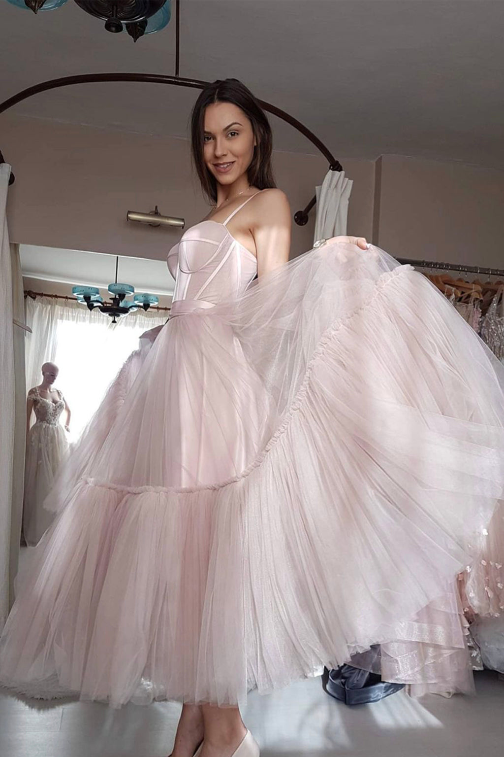 Pink tulle short prom dress pink evening dress