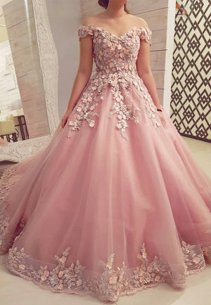 Pink tulle appliqué long ball gown dress formal dress