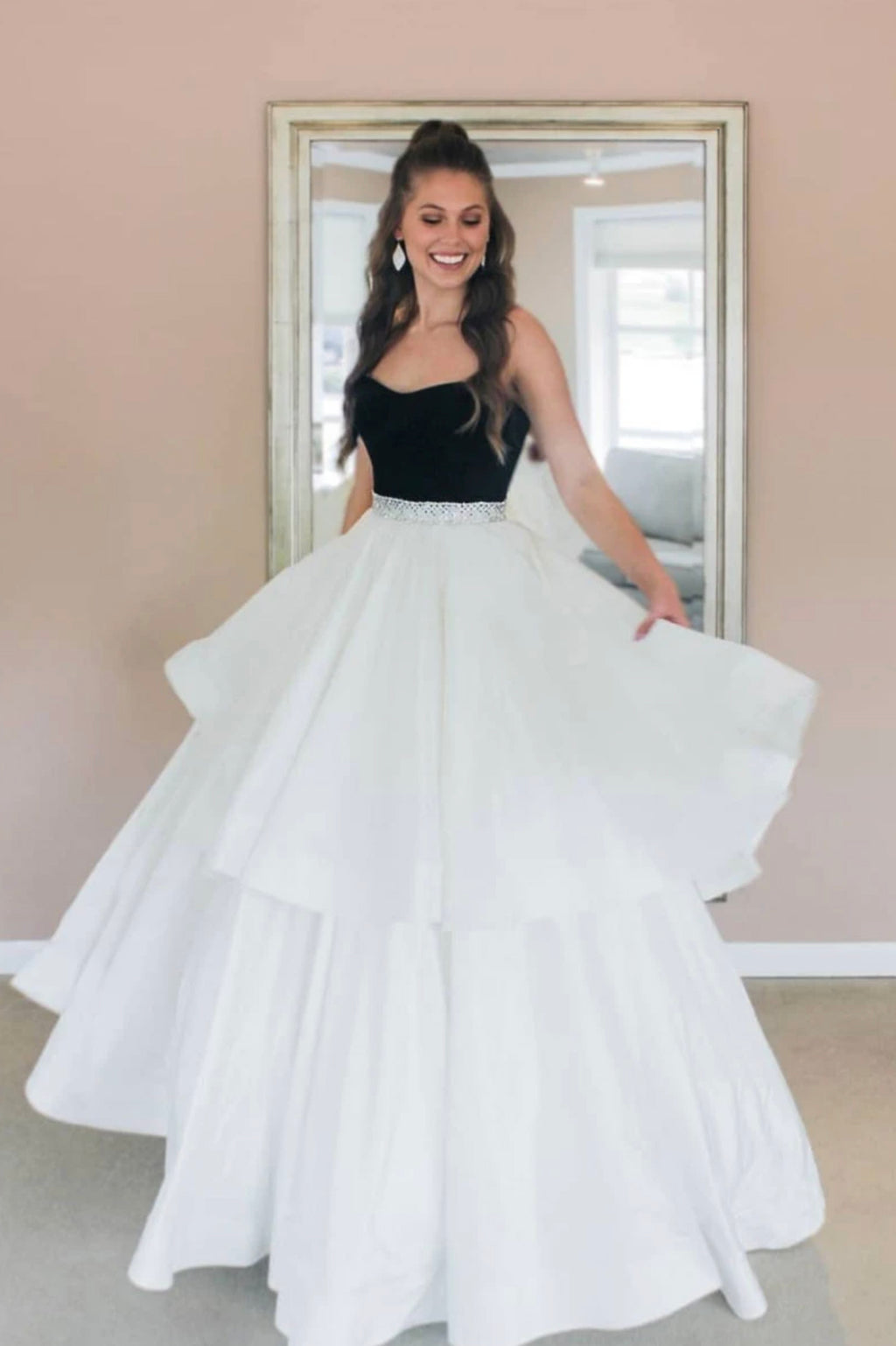 White satin long A line ball gown dress formal dress