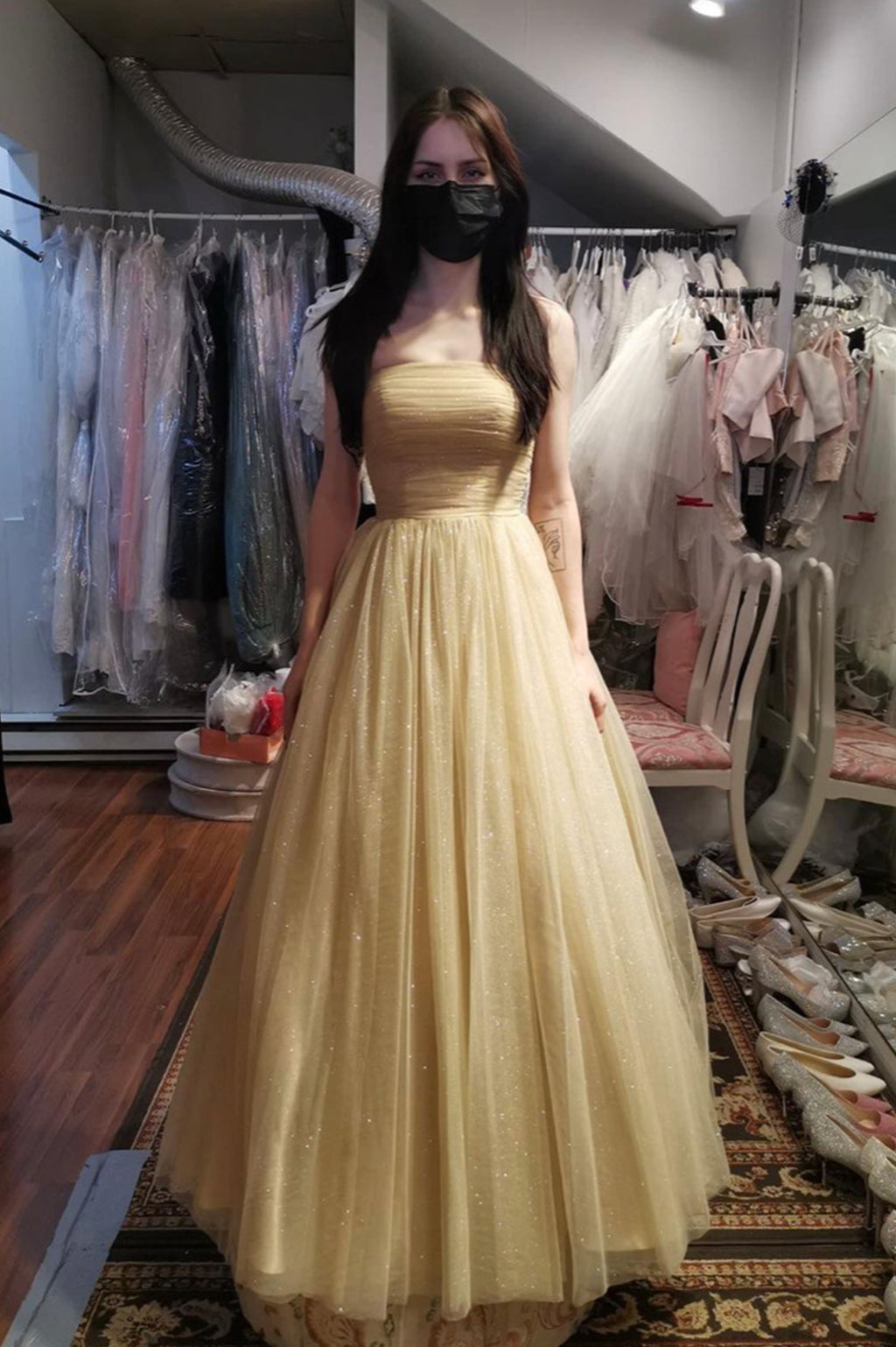 Cute tulle long A line prom dress cute evening dress