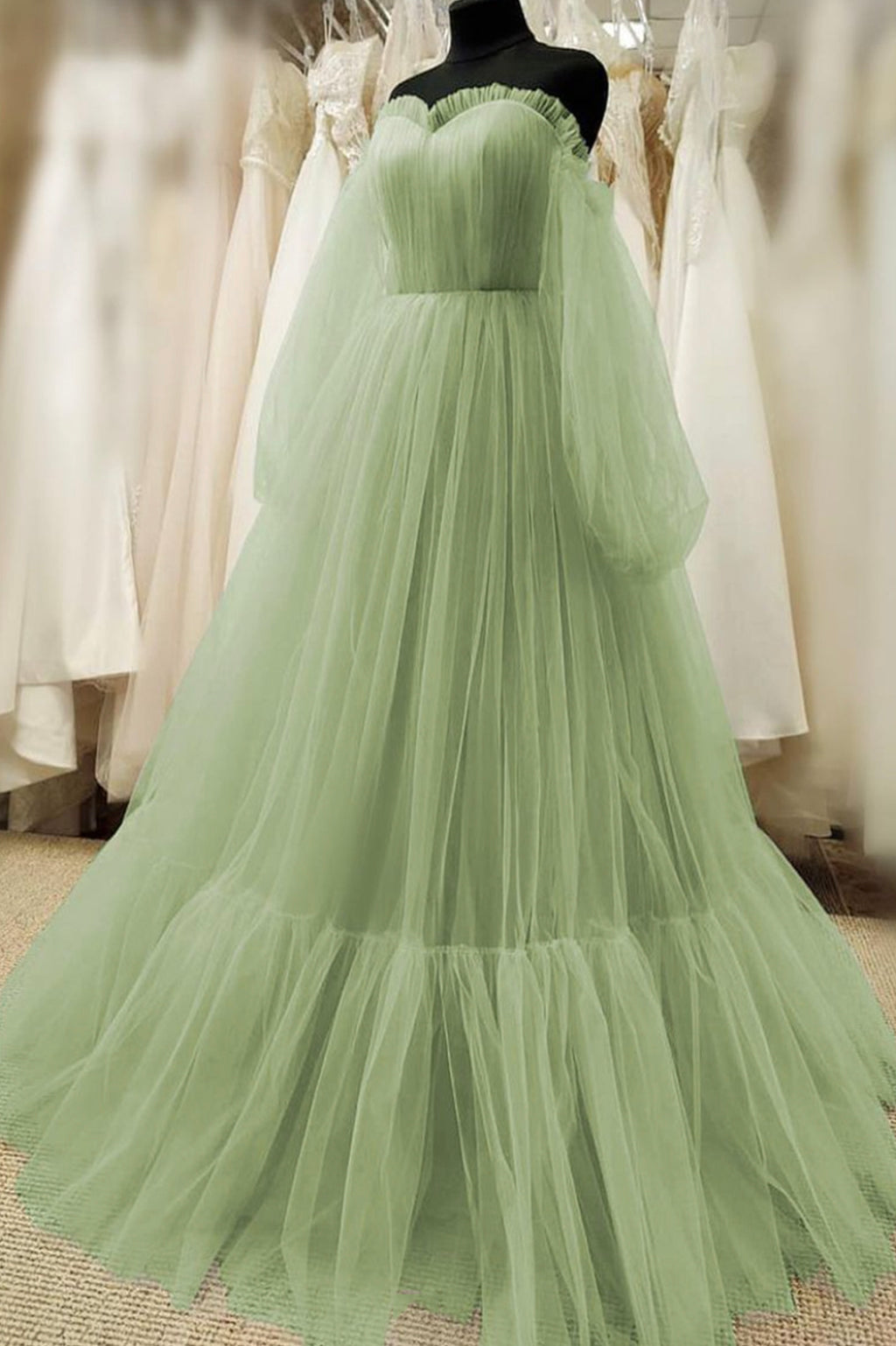 Cute tulle long sleeve prom dress cute evening dress