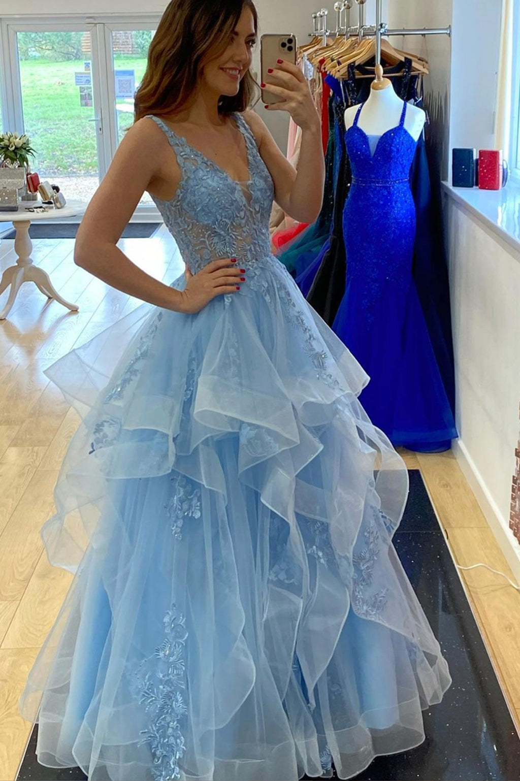 Blue v neck lace long ball gown dress blue evening dress