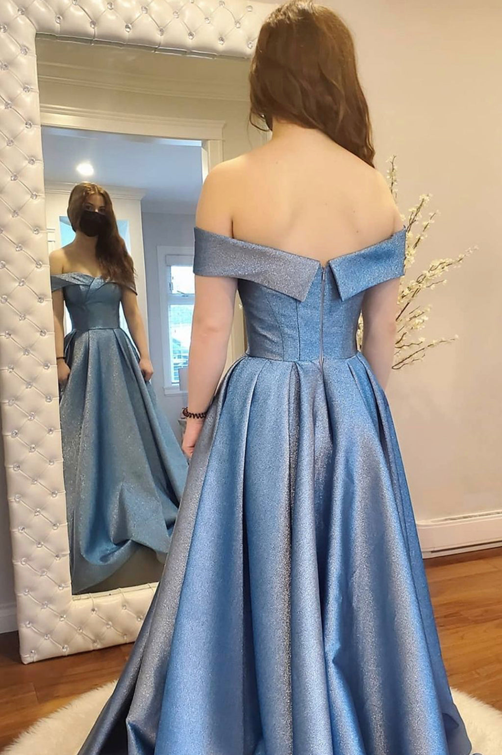 Blue satin long A line prom dress evening dress