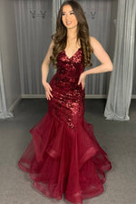 Burgundy tulle sequins long mermaid prom dress evening dress