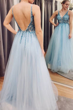 Blue tulle beads long A line prom dress evening dress