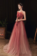 Cute A line tulle long prom dress evening dress