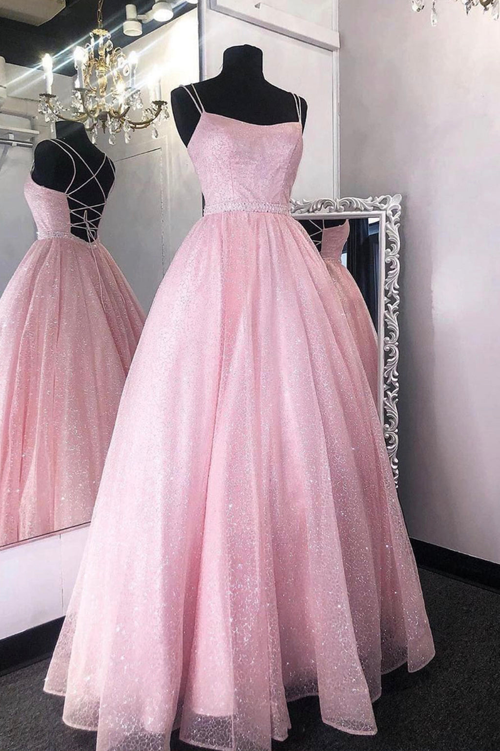 Cute tulle sequins long A line prom dress evening dress